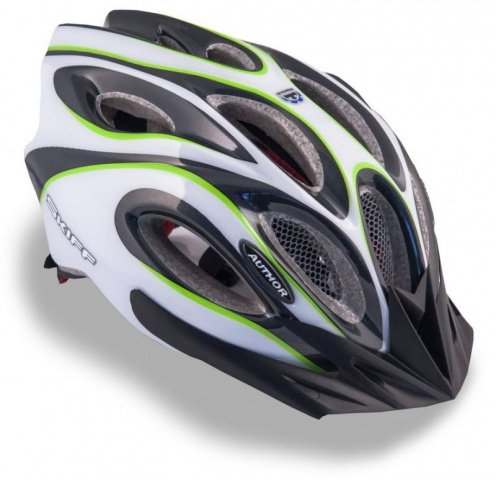 Шлем спортивный SKIFF 141 GREEN/WHITE/BLACK р-р 58-62см AUTHOR - СКИДКА 8%., И-0053200  - купить со скидкой