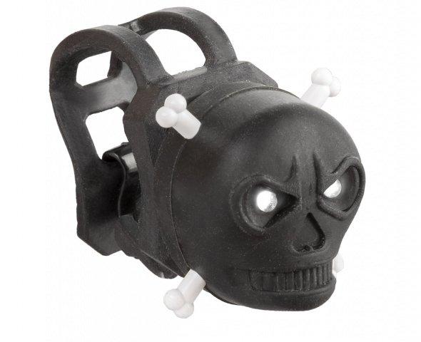 Фонарь 5-220603 маячок передний череп 2д/2ф резин. с батар. черный (40) VENTURA., И-0050416  - купить со скидкой