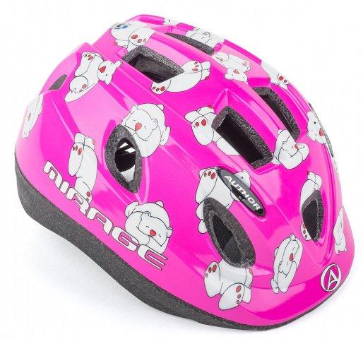 Купить Шлем 8-9089980 с сеточ Mirage 161Pnk Bear INMOLD СВЕТОД. Фонарь дет/подр. 12отв розов 48-54см AUTHOR