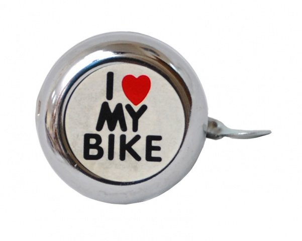 Звонок 00-170691 сталь детский серебристый с рисунком I love my bike ., И-0050153  - купить со скидкой