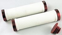 Купить Ручки .CLO201 на руль резиновые 130мм с 2 фиксат. бело-красные анодированный CLARK`S - СКИДКА 27%., И-000009284