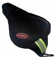 Купить Накладка гелевая на седло Vinca Sport XD08 черная со светоотражающей полосой, 280*180мм, вес 240гр ., И-0054003