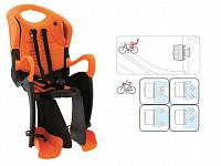 Купить BELLELLI Сидение заднее Tiger Standard B-Fix, чёрно-оранжевое с оранжевой вставкой, до 22кг., И-0054739