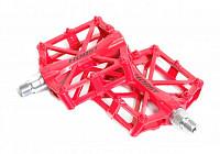 Купить Педали алюминиевый H32 широкие литые с шипами. 92*95*15мм, 388 г красные HORST., И-0059282