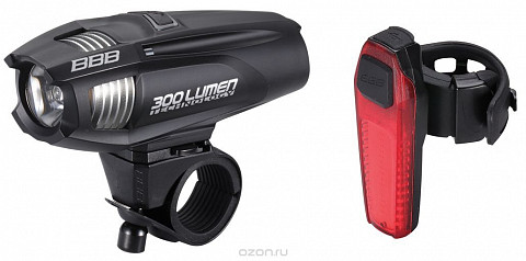 Фонарь  BBB 2015 lightset ComboStrike 300 lumen LED black + rear Signal led BLS-73