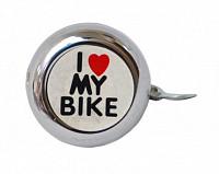 Купить Звонок 00-170691 сталь детский серебристый с рисунком I love my bike - СКИДКА 45%., И-0050153