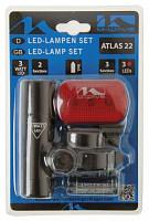Купить Фара+фонарь 5-221064 1д. повыш. ярк. 3W/2ф. алюм.+3д/3ф красный с батар. (50) M-WAVE - СКИДКА 1%., И-000012513